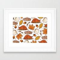 thanksgiving Framed Art Prints featuring thanksgiving by Ceren Aksu Dikenci