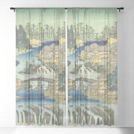 Utagawa Hiroshige - Izu Province Hot Springs At Shuzen Temple - Vintage Japanese Woodblock Print Art Sheer Curtain