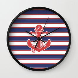 Sailor Stripes and Anchor Pattern 13 Wall Clock