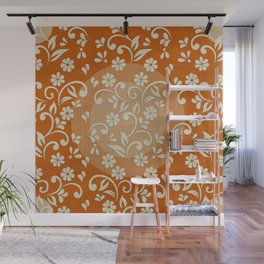 """Beige Flowers & Orange Texture"" Wall Mural"