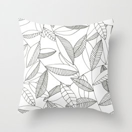 Inky Leaves Throw Pillow