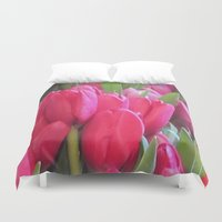 tulips Duvet Covers featuring Tulips by lillianhibiscus