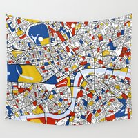 london Wall Tapestries featuring London by Mondrian Maps
