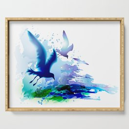 Birds flying. Sea, ocean watercolor gulls with waves. Dark blue water. Serving Tray