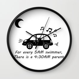 Swim Parents at 4:30AM WHITE/BLACK (Square version) Wall Clock
