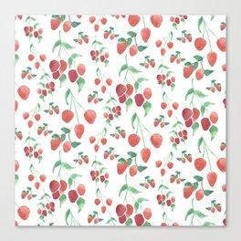 Watercolor Strawberries Canvas Print