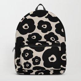 Retro Flower Pattern 125 Black and Linen White Backpack