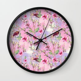 Cherry Blossoms Pattern Wall Clock
