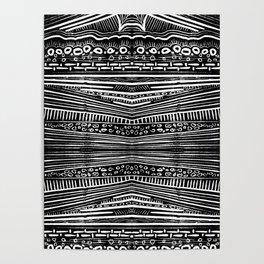 Linocut Tribal Pattern Poster