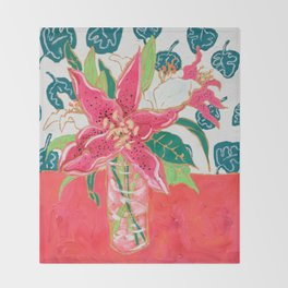 Pink and White Lily Bouquet with Matisse Wallpaper Throw Blanket