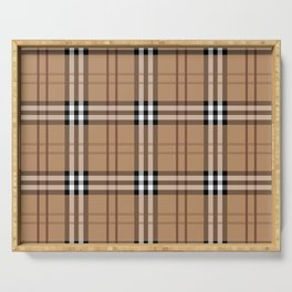 Classic Vintage Brown Check  Tartan Serving Tray