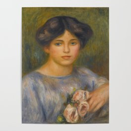 """Auguste Renoir """"Jeune fille aux roses (Young girl with flowers)"""" Poster"""