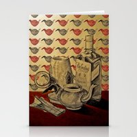 whiskey Stationery Cards featuring Tea & Whiskey by Ela Caglar