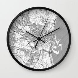 Valencia Map Line Wall Clock