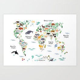 Animal World Map Art Print