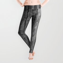 wood planks background black and white wooden texture Leggings