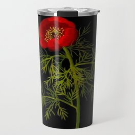 Paeonia Tenuifolia Mary Delany Vintage British Floral Flower Paper Collage Black Background Travel Mug