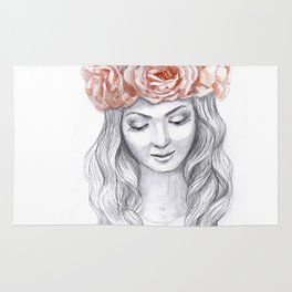 Girl in a pink wreath Rug