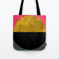 georgiana paraschiv Tote Bags featuring Abstract Sunset by Georgiana Paraschiv