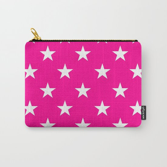 Stars (White/Magenta) Carry-All Pouch