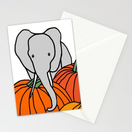 Big Elephant hanging out in the Pumpkin Patch for Halloween Stationery Cards