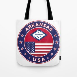 Arkansas, Arkansas t-shirt, Arkansas sticker, circle, Arkansas flag, white bg Tote Bag