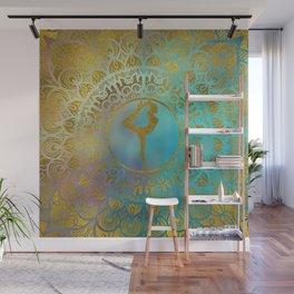 Yoga Asana Symbol in Gold Mandala Wall Mural