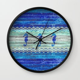 Rustic Navy Blue Coastal Decor Seahorses Wall Clock