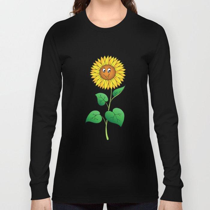Cute Cartoon Sunflower Long Sleeve T-shirt