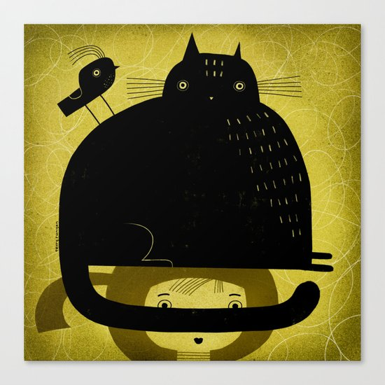BLACK CAT AND BIRD ON HED Canvas Print