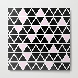 Abstract geometric triangle pattern- pink-black Metal Print