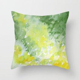 Watercolor Abstract Green Spring Throw Pillow