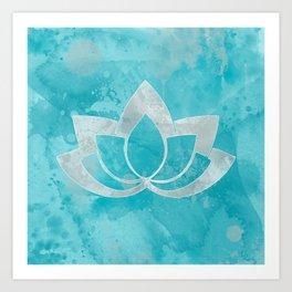 Lotus Flower on Aqua Art Print