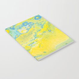 Fluid Art Acrylic Painting, Pour 36, Yellow, Green & Blue Blended Color Notebook