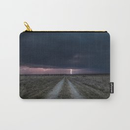 Darkness Falls - Lightning Strikes Down a Country Road at Night Carry-All Pouch