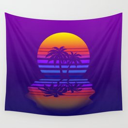 Synthwave Space #15: Twilight horizon (pixelart) Wall Tapestry