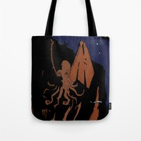 cthulhu Tote Bags featuring Cthulhu by Theo Leschevin
