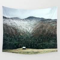 cabin Wall Tapestries featuring Cabin in the woods by General Design Studio