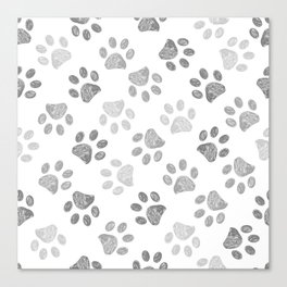 Black and grey paw print pattern Canvas Print