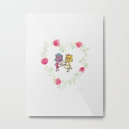 Cool Cats in Wreath-Pink Flowers and Watercolor Paper Texture Metal Print
