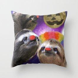 Three Sloth Moon Clown Makeup JackOLantern Throw Pillow