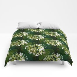 Hills-of-snow hydrangea pattern Comforters