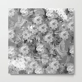 PARROTS MAGNOLIAS ROSES AND HYDRANGEAS TOILE PATTERN IN GRAY AND WHITE Metal Print