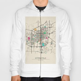 Colorful City Maps: Springfield, Illinois Hoody