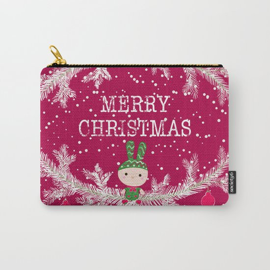 Christmas. Crimson background. Carry-All Pouch