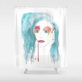 Crying girl. Shower Curtain