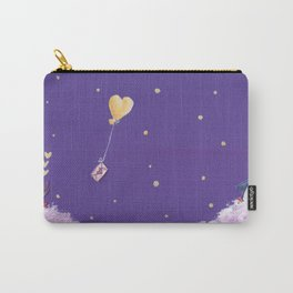 Penguin Sends Love Letter with Heart Balloon to Friend Across Starry Sky Carry-All Pouch