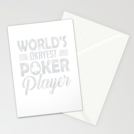 World's Okayest Poker Player Distressed Stationery Cards