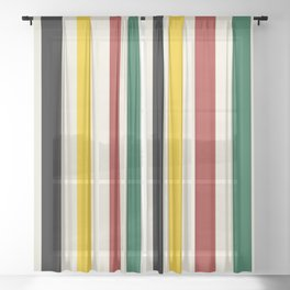 Rustic Lodge Stripes Black Yellow Red Green Sheer Curtain