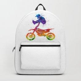 Boy Motocross Trick Colorful Watercolor Art Gift Dirt Bike Backpack